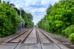 Tramway railway. Tram line in Dublin, Ireland, Luas Royalty Free Stock Images