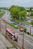 Tramway in the rainy city Royalty Free Stock Images