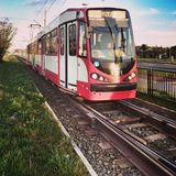 tramway Regard artistique dans des couleurs vives de vintage Photographie stock libre de droits