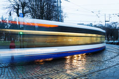 Tramway in Riga, Latvia in the evening Royalty Free Stock Image
