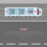 Tramway on Road Conceptual Flat Vector Web Banner. Tramway on road conceptual web banner. Tramway goes on street flat style vector illustration. Modern urban Royalty Free Stock Photography