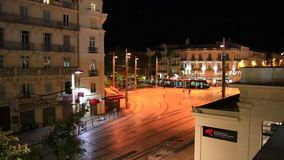 Tramway running on a square in Montpellier, France. Tramway running on a square in Montpellier, Herault in the south of the France stock footage