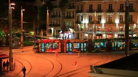 Tramway running on a square in Montpellier, France. Tramway running on a square in Montpellier, Herault in the south of the France stock video