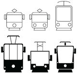 Tramway set in black color illustration Stock Photos