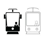 Tramway set in black and white color with man icon illustration Stock Image