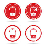 Tramway set in red color illustration Stock Photography