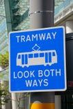 Tramway sign, Birmingham. Royalty Free Stock Photo