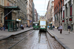 Tramway on the small street in Helsinki, Finland Stock Photos