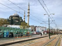 Tramway station in Eminonu district of Istanbul in Turkey. Istanbul, Turkey - April 16, 2018: Tramway station in Eminonu district of Istanbul in Turkey Royalty Free Stock Images