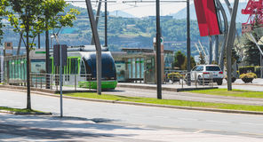 Tramway stops at a station in the city of Bilbao, Spain Royalty Free Stock Photography
