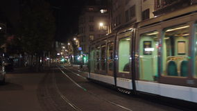 Tramway in Strasbourg at night. Tramway in Strasbourg at the night stock video