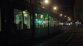 Tramway in Strasbourg at night. Tramway in Strasbourg at the night stock footage