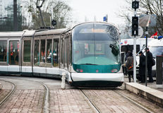 Tramway on Strasbourg streets early in the morning. STRASBOURG, FRANCE - JANUARY 28, 2015: Tramway on Strasbourg streets early in the morning Stock Photo