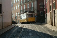 Tramway in street Stock Image