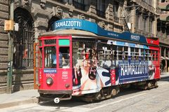 Tramway on the street of Milan, Italy. Milan, Italy - July 20, 2015: Old and vintage tramway on the street of Milan and in operation since 1881 Royalty Free Stock Photos