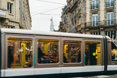 Tramway on streets of Strasbourg during Christmas holidays Royalty Free Stock Photography