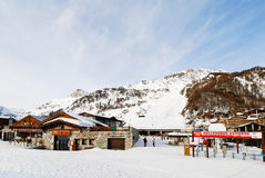 Tramway terminal in town Val d'Isere, France Stock Photography
