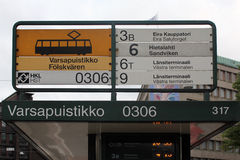 Tramway timetable in Helsinki Stock Images