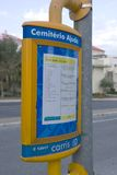 Tramway timetable. Yellow tramway timetable in lisbon -  Portugal Royalty Free Stock Image
