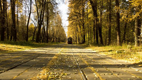 Tramway track across autumn park. In moscow Stock Photo