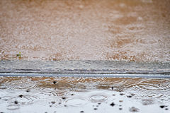 Tramway track flooded Royalty Free Stock Photos