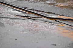 Tramway track during rainfall. Detail shot with tramway track during rainfall Royalty Free Stock Photo