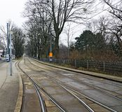 Tramway tracks with switches at separate lane Stock Image