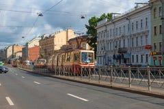 Tramway traffic on the Ligovsky Prospekt. RUSSIA, SAINT PETERSBURG - AUGUST 18, 2017: Tramway traffic on the Ligovsky Prospekt Royalty Free Stock Images