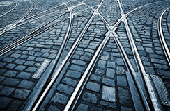 Tramway Tram on Stone Pavement Stock Image