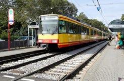 Tramway at a tram stop, Karlsruhe Stock Image