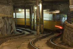Tramway in the tunnel. Painted with graffiti Stock Photography