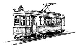 Tramway. Vector drawing of tram stylized as engraving Stock Image