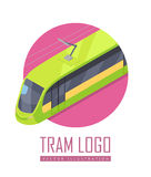 Tramway Vector Icon in Isometric Projection. Tramway isometric projection icon. Green electric tram vector illustration isolated on white background. City public Stock Photo