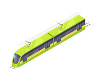 Tramway Vector Icon in Isometric Projection. Tramway isometric projection icon. Green electric tram vector illustration isolated on white background. City public Royalty Free Stock Images