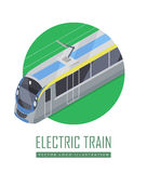Tramway Vector Icon in Isometric Projection. Tramway isometric projection icon. Green electric tram vector illustration isolated on white background. City public Stock Image