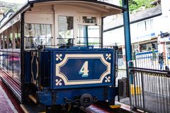LLandudno, Wales, North Shore Beach, UK - MAY 27, 2018 Tramway waiting for passengers in the first station. Funicular train gettin. Tramway waiting for Royalty Free Stock Image