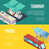 Tramway waiting station isometric 3D posters. Urban and countryside traffic concepts with transport stops vector illustration. City public transport Stock Photo