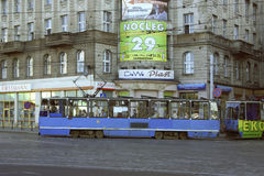 Tramway in Warsaw. Tramway on an urban street in Warsaw city, Poland Stock Image