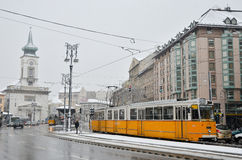 Tramway during winter in Budapest Stock Photo