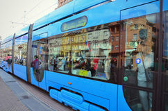 Tramway in Zagreb central market Royalty Free Stock Photography