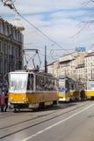 tramways au centre de Sofia, Bulgarie Images libres de droits