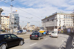 Tramways in the center of Sofia,Bulgaria Royalty Free Stock Photo
