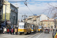 Tramways in the center of Sofia,Bulgaria Royalty Free Stock Photography