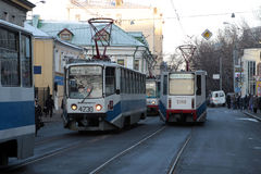 Tramways in Moscow. Tramway group in Moscow are going via street Stock Image
