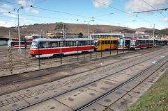 Tramways in station Stock Images