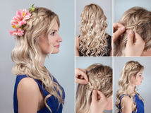 Trança do penteado com as flores frescas tutoriais imagem de stock royalty free