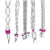 Tranças do cabelo ajustadas ilustração do vetor