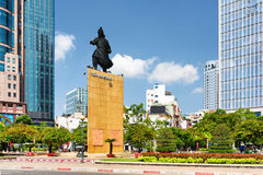Tran Hung Dao statue in Ho Chi Minh city, Vietnam. Tran Hung Dao statue in Me Linh Square of Ho Chi Minh city in Vietnam. Monument of the military leader on blue Stock Photography