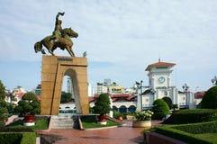 Tran Nguyen Han statue at Ben Thanh market. HO CHI MINH , VIETNAM- AUGUST 7 : Tran Nguyen Han statue locate at Quach Thi Trang traffic circle, before Ben Thanh stock images