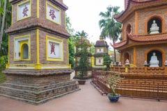 Tran Quoc Pagoda Hanoi. Stupas at Tran Quoc Pagoda (Chùa Trấn Quốc), Tây Hồ District, Hanoi, Vietnam royalty free stock images